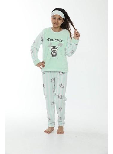 Akbeniz Welsoft Polar Kız Çocuk Pijama Takımı 4533 Yeşil